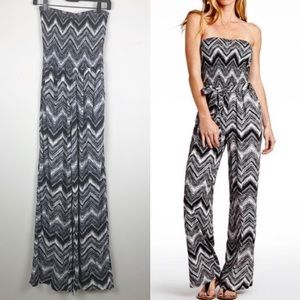 Guess Smocked Strapless Chevron Jumpsuit